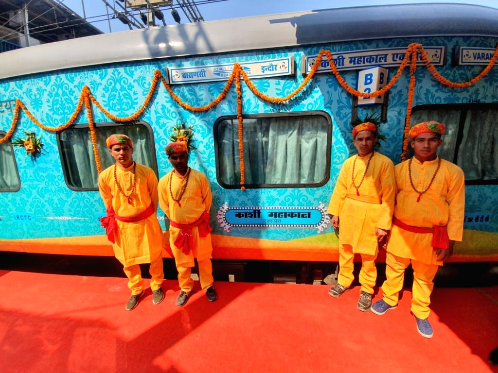 Varanasi: The third IRCTC operated train Kashi Mahakal Express that was flagged off by Prime Minister Narendra Modi through video conferencing from Varanasi on Feb 16, 2020. (Photo: IANS) - Narendra Modi