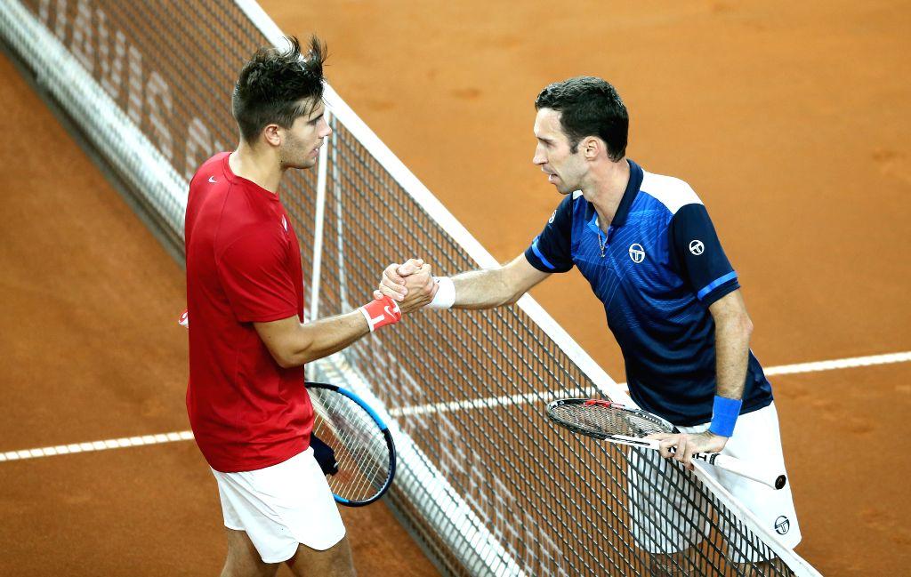VARAZDIN, April 7, 2018 - Borna Coric (L) of Croatia shakes hands with Mikhail Kukushkin of Kazakhstan after the Davis Cup singles at World Group quarterfinal between Croatia and Kazakhstan in ...