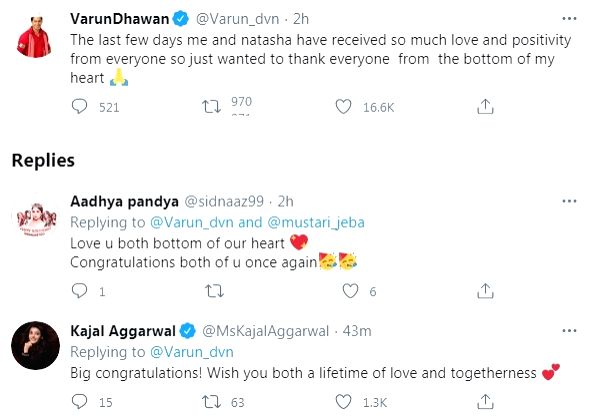 Varun Dhawan overwhelmed with love post marriage to Natasha (credit: @Varun_dvn/twitter)