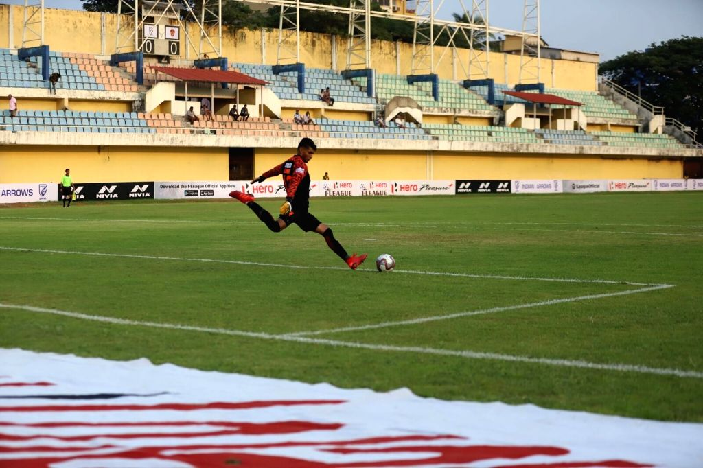 Vasco da Gama: Players in action during a I-League match between Indian Arrows and Gokulam Kerala FC at the Tilak Maidan Stadium in Vasco da Gama, Goa on Dec 6, 2019.