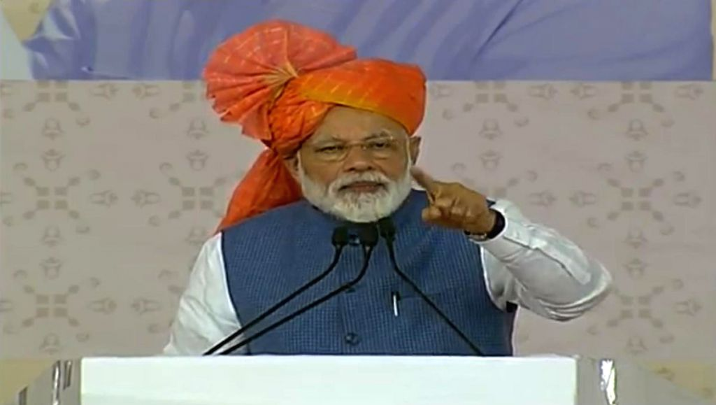 Vastral: Prime Minister Narendra Modi addresses at the inauguration of various development projects in Vastral, Gujarat, on March 5, 2019. (Photo: IANS/BJP) - Narendra Modi