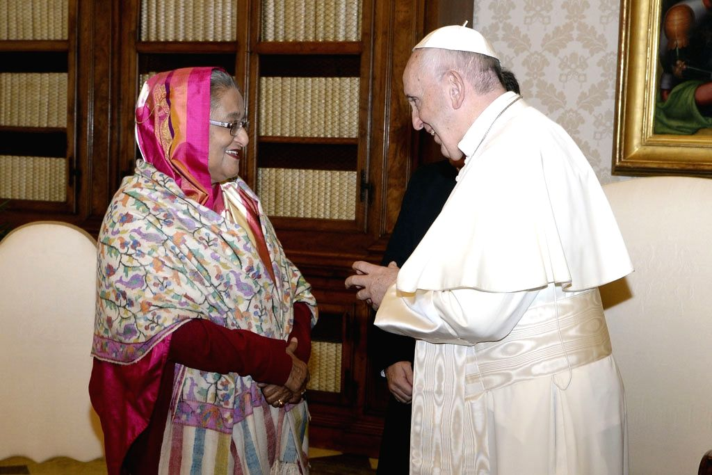 Vatican City: Bangladesh Prime Minister Sheikh Hasina meets Pope Francis in the Vatican City on Feb 12, 2018. - Sheikh Hasina