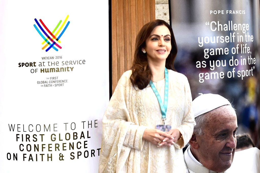 "Vatican City: Reliance Foundation Founder and Chairperson Nita Ambani  at the ""Sport at the Service of Humanity Conference"" - the first global conference on faith and sport, held by the ... - Nita Ambani"