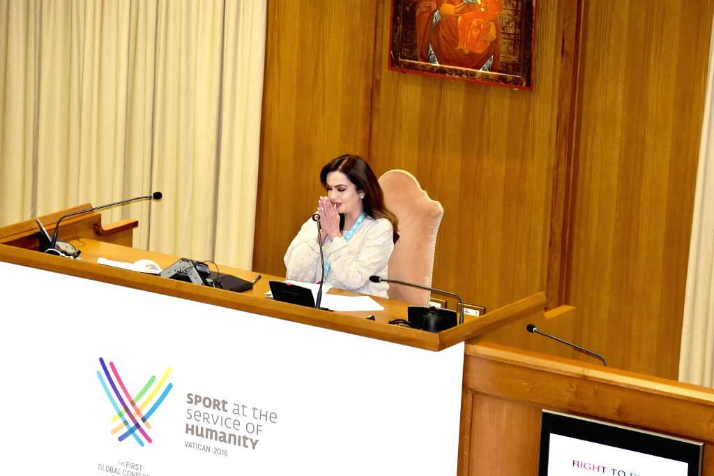 "Vatican City: Reliance Foundation Founder and Chairperson Nita Ambani addresses the delegates at the ""Sport at the Service of Humanity Conference"" - the first global conference on faith and ... - Nita Ambani"