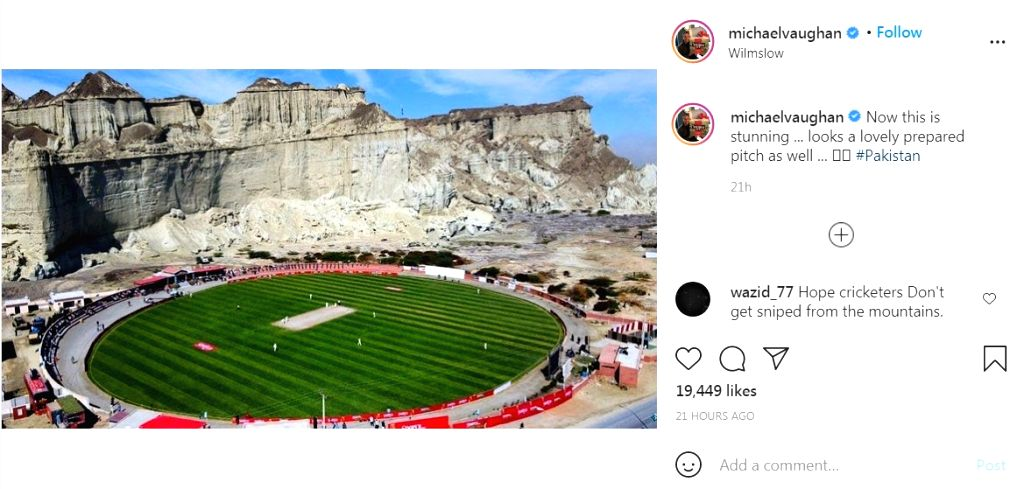 Vaughan takes veiled swipe at Chennai pitch with image of Pak stadium (Credit: Instagram)