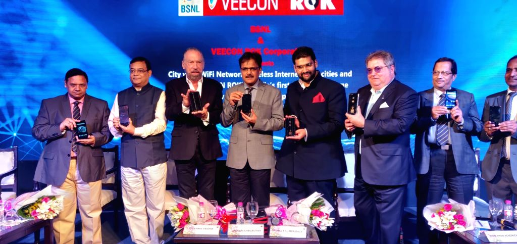 Veecon ROK Corporation Chairman Gaurav K Srivastava, ROK Group of Companies Co-Founder John-Paul DeJoria, BSNL Chairman and MD Anupam Shrivastava and ROK Group of Companies Chairman and ...