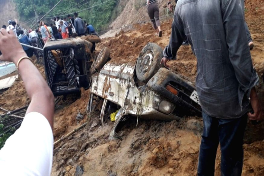 Vehicles damaged in a landslide that occurred along NH-415, between the Gohpur-Tinali trijunction and the police headquarters, in Itanagar on July 17, 2019.