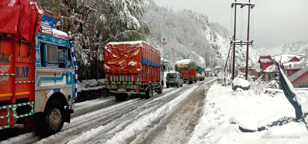 Vehicles left stranded on the Jammu-Srinagar National Highway that was closed for traffic due to shooting stones triggered by rains at Ramban, which is 150 kilometres from Jammu, on Nov 16, ...
