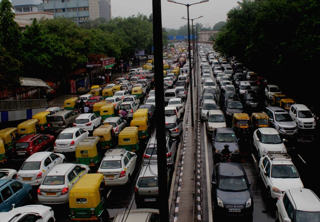 Vehicles stuck in a traffic jam after heavy rains in New Delhi on Aug 19, 2017.