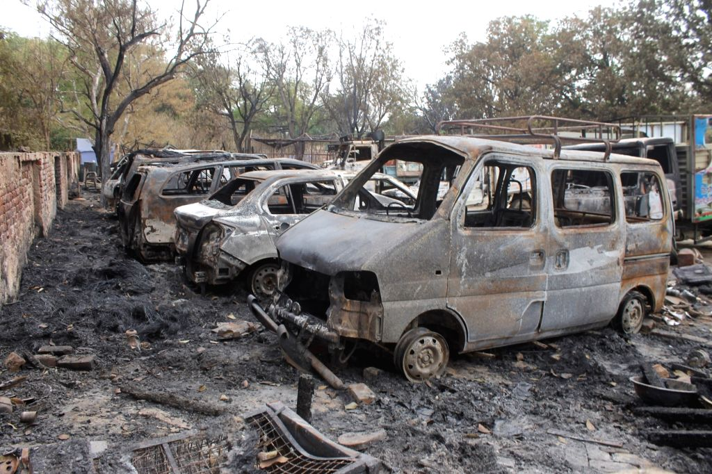 Vehicles that were torched during Jawaharbagh violence in Mathura on June 5, 2016.