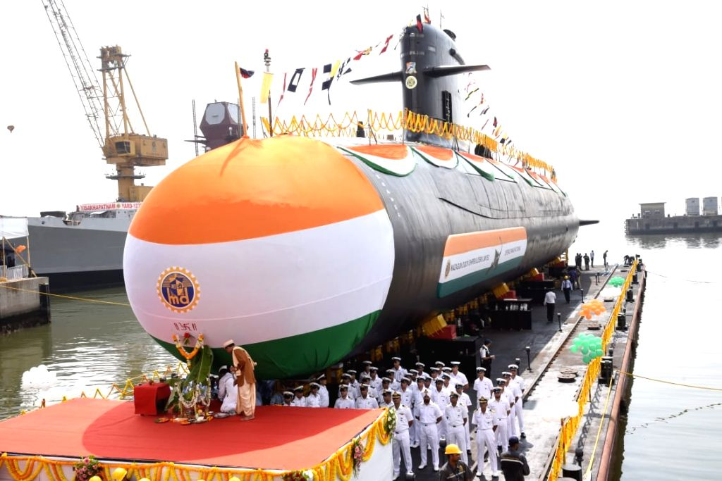 Vela, the fourth of Indian Navy's stealth, Scorpene class submarine under Project 75, at the launching ceremony at Kanhoji Angre Wet Basin of Mazagaon Docks Ltd. (MDL) in Mumbai, on May 6, ...