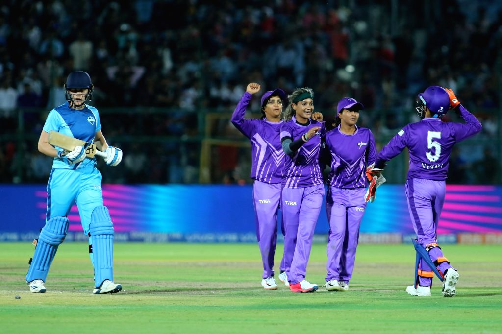 Velocity players celebrate fall of a wicket during the final match of Women's T20 Challenge 2019 between Supernovas and Velocity at Sawai Mansingh Stadium in Jaipur, on May 11, 2019.