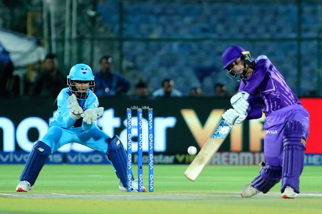 Velocity's Danielle Wyatt in action during the final match of Women's T20 Challenge 2019 between Supernovas and Velocity at Sawai Mansingh Stadium in Jaipur, on May 11, 2019.