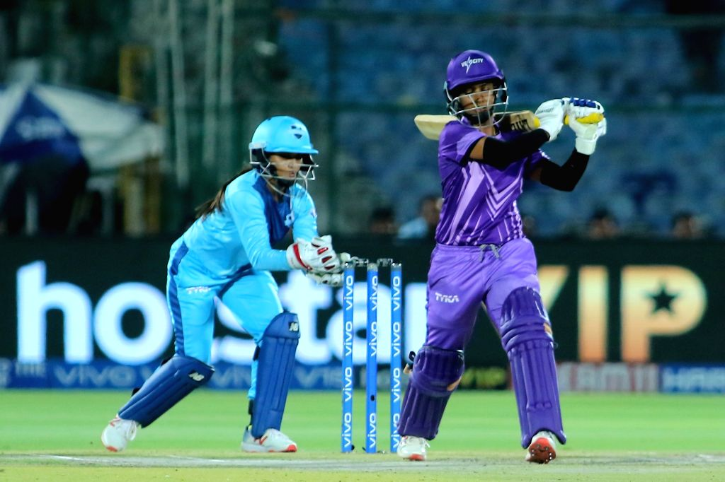Velocity's Mithali Raj in action during the final match of Women's T20 Challenge 2019 between Supernovas and Velocity at Sawai Mansingh Stadium in Jaipur, on May 11, 2019.