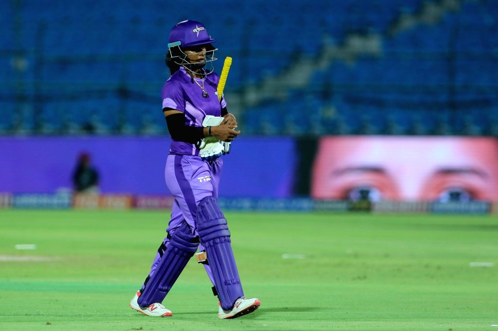 Velocity's Mithali Raj walks back to the pavilion after getting dismissed during the final match of Women's T20 Challenge 2019 between Supernovas and Velocity at Sawai Mansingh Stadium in ...
