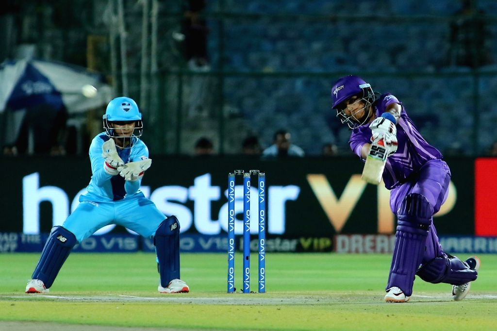 Velocity's Veda Krishnamurthy in action during the final match of Women's T20 Challenge 2019 between Supernovas and Velocity at Sawai Mansingh Stadium in Jaipur, on May 11, 2019.