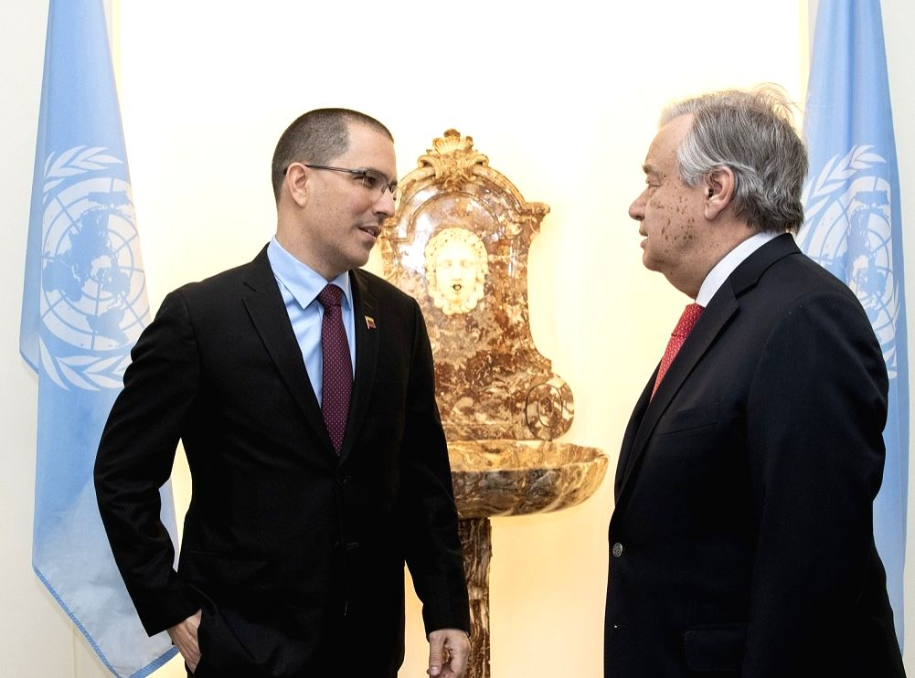 Venezuelan Foreign Minister Jorge Alberto Arreaza, left, met United Nations Secretary-General Antonio Guterres in New York on Monday, Feb. 11, 2019. - Jorge Alberto Arreaza