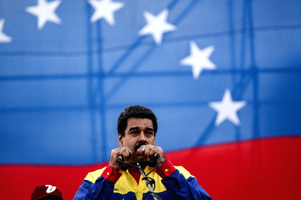 Venezuelan President Nicolas Maduro delivers a speech during a closing campaign act of the Great Patriotic Pole (GPP) headed by Venezuelan President Nicolas Maduro, ...