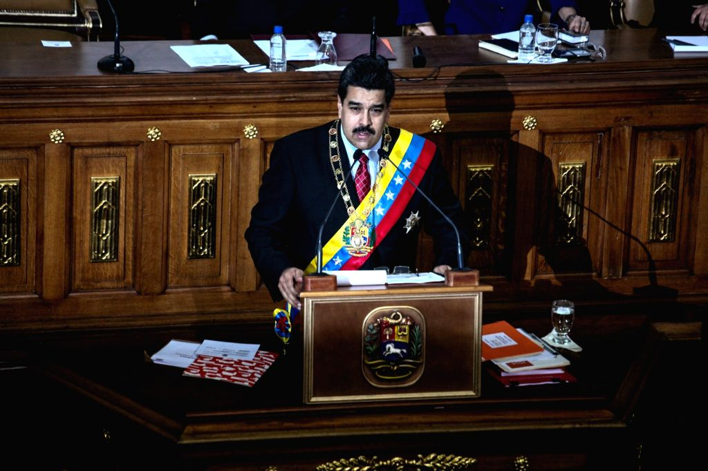 Venezuelan President Nicolas Maduro presents his Report and Accounts 2015 to the National Assembly in Caracas, Venezuela, on Jan. 15, 2016. According to local ...