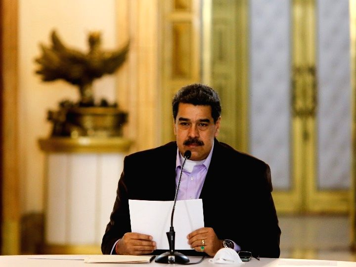 Venezuelan President Nicolas Maduro speaks in a TV address in Caracas, Venezuela, March 16, 2020. (Venezuela's Presidency/Handout via Xinhua/IANS)