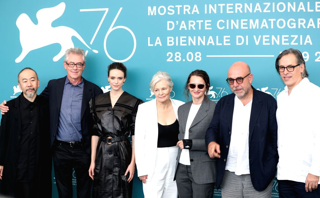 VENICE, Aug. 28, 2019 - Main competition jury president Lucrecia Martel (3rd R) and other jury members pose for photos during a photocall at the 76th Venice International Film Festival in Venice, ...