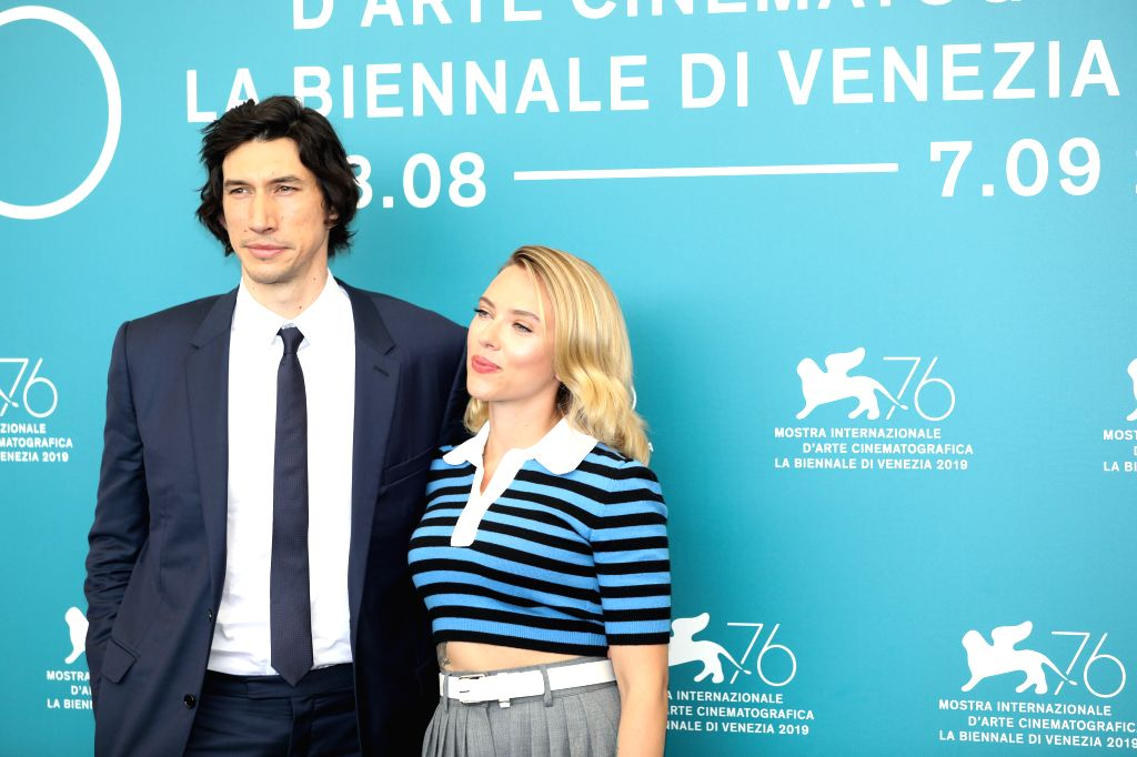 "VENICE, Aug. 29, 2019 - Actress Scarlett Johansson (R) and actor Adam Driver attend a photocall for the film ""Marriage Story"" during the 76th Venice International Film Festival in Venice, ... - Scarlett Johansson"