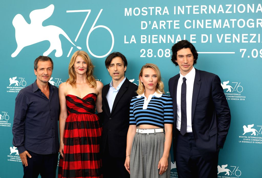 "VENICE, Aug. 29, 2019 - Director Noah Baumbach (C) and other cast members attend a photocall for the film ""Marriage Story"" during the 76th Venice International Film Festival in Venice, ..."