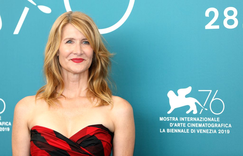 """VENICE, Aug. 29, 2019 (Xinhua) -- Actress Laura Dern attends a photocall for the film """"Marriage Story"""" during the 76th Venice International Film Festival in Venice, Italy, on Aug. 29, 2019. (Xinhua/Cheng Tingting/IANS) - Laura Dern"""