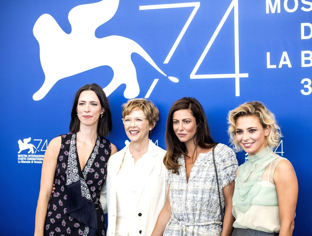 VENICE, Aug. 30, 2017 - President of the jury of the 74th edition of the Venice Film Festival Annette Bening (2nd L) and jury members Rebecca Hall (1st L), Anna Mouglalis (2nd R) and Jasmine Trinca ...