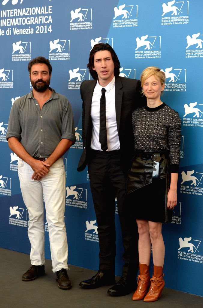 """Director Saverio Costanzo, actor Adam Driver and actress Alba Rohrwacher (from L to R) pose during the photo call for """"Hungry Hearts""""  which is selected ... - Adam Driver"""