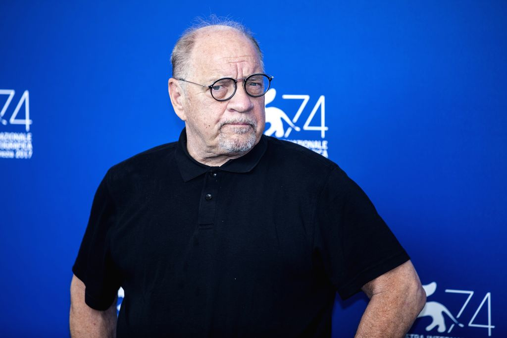"""VENICE, Aug. 31, 2017 - Director Paul Schrader poses during a photocall for the movie """"First Reformed"""" at the 74th Venice Film Festival in Venice, Italy, on Aug. 31, 2017."""