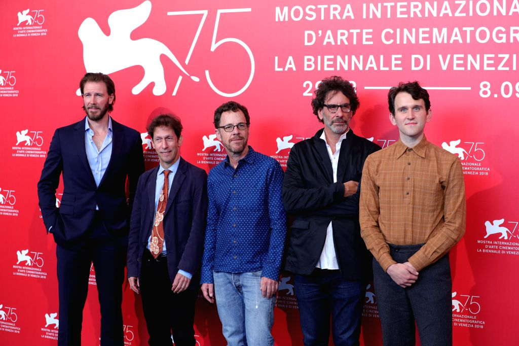 """VENICE, Aug. 31, 2018 - Bill Heck, Tim Blake Nelson, Ethan Coen, Joel Coen and Harry Melling (L to R) attend """"The Ballad of Buster Scruggs"""" photocall during the 75th Venice International ..."""