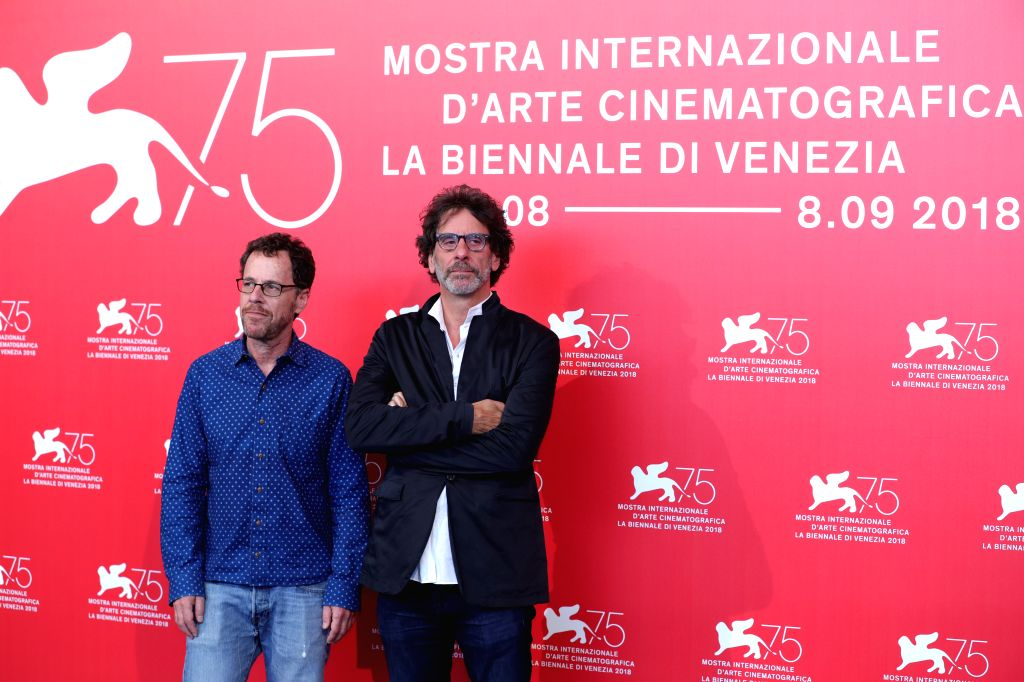 """VENICE, Aug. 31, 2018 - Ethan Coen (L) and Joel Coen attend """"The Ballad of Buster Scruggs"""" photocall during the 75th Venice International Film Festival at Sala Casino, Venice, Italy, Aug. ..."""