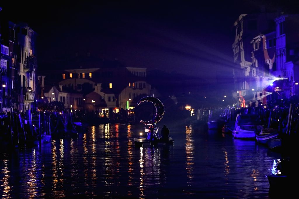 VENICE, Feb. 17, 2019 - An actress performs on the water at Rio di Cannaregio during the Venice Carnival in Venice, Italy, Feb. 16, 2019. The Venice Carnival 2019 kicked off on Saturday and will last ...