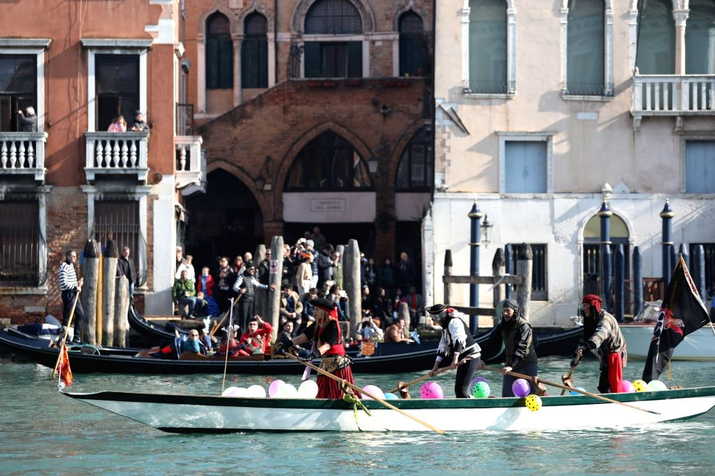 VENICE (ITALY), Feb. 17, 2019 People participate in a water parade during the Venice Carnival in Venice, Italy, on Feb. 17, 2019. The Venice Carnival 2019 kicked off on Saturday and will ...