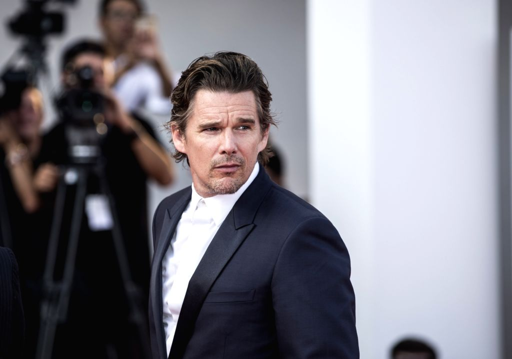 """VENICE, Sept. 1, 2017 - Actor Ethan Hawke arrives for the premiere of the movie """"First Reformed"""" at the 74th Venice Film Festival in Venice, Italy, on Aug. 31, 2017. - Ethan Hawke"""