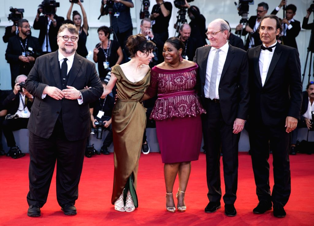 VENICE, Sept. 1, 2017 - Director Guillermo Del Toro, actresses Sally Hawkins and Octavia Spencer, actor Richard Jenkins and composer Alexandre Desplat (L-R) pose prior to the premiere of the movie ... - Richard Jenkins, Sally Hawkins and Octavia Spencer