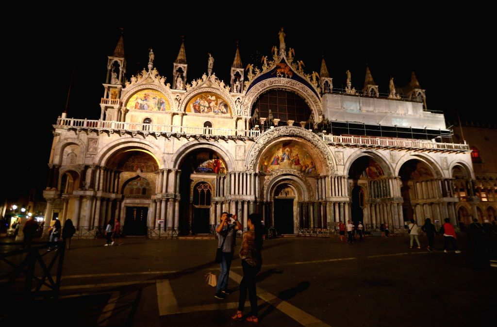 VENICE, Sept. 14, 2016 - Photo taken on Sept. 5, 2016 shows the night view of the St. Mark's Basilica in Venice, Italy.
