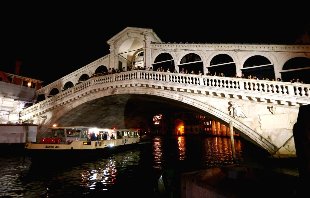 VENICE, Sept. 14, 2016 - Photo taken on Sept. 5, 2016 shows the night view of the Rialto Bridge in Venice, Italy.