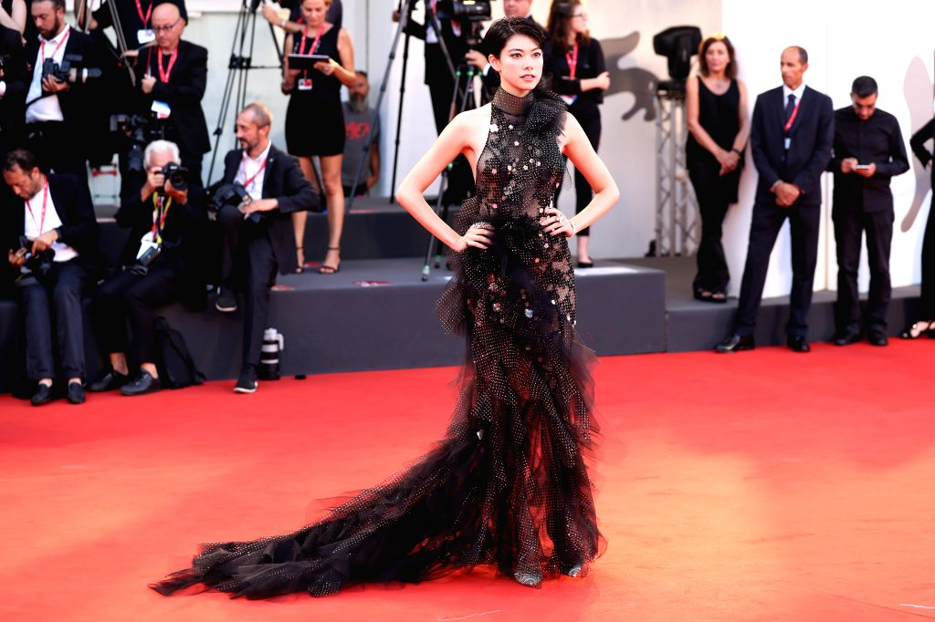 VENICE, Sept. 3, 2019 - Actress and model Hikari Mori poses on the red carpet during the 76th Venice International Film Festival in Venice, Italy, Aug. 31, 2019. Stars attend the event in high ... - Hikari Mori