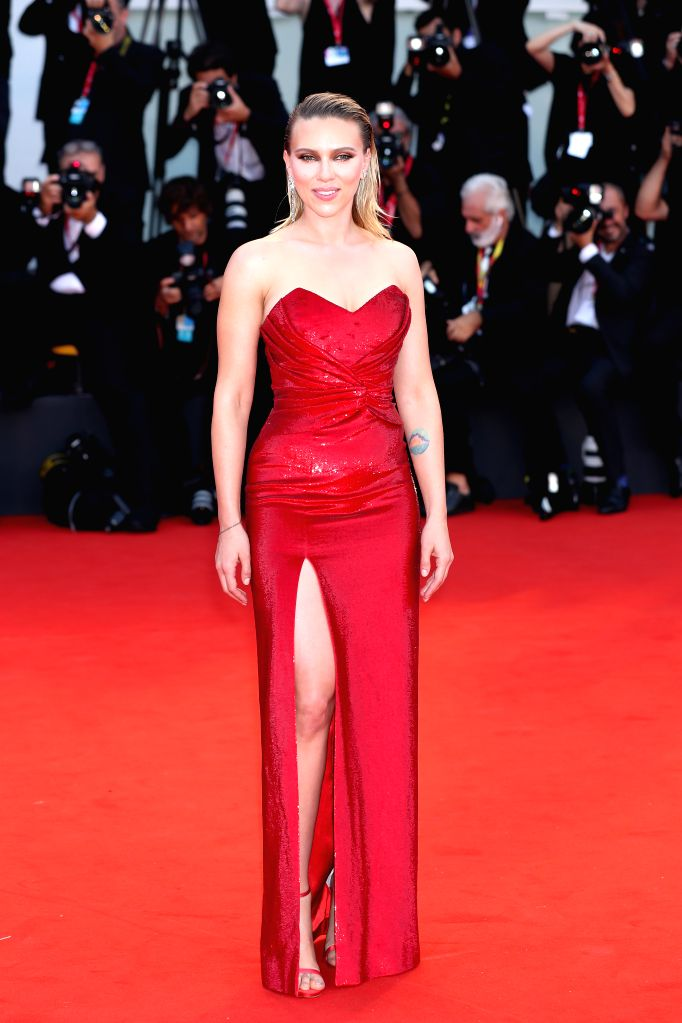 VENICE, Sept. 3, 2019 - Actress Scarlett Johansson poses on the red carpet during the 76th Venice International Film Festival in Venice, Italy, Aug. 31, 2019. Stars attend the event in high fashion ... - Scarlett Johansson