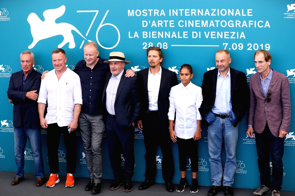 "VENICE, Sept. 3, 2019 - Director Vaclav Marhoul (2nd R) and other cast members attend a photocall for the film ""The Painted Bird"" during the 76th Venice Film Festival in Venice, Italy, on ..."