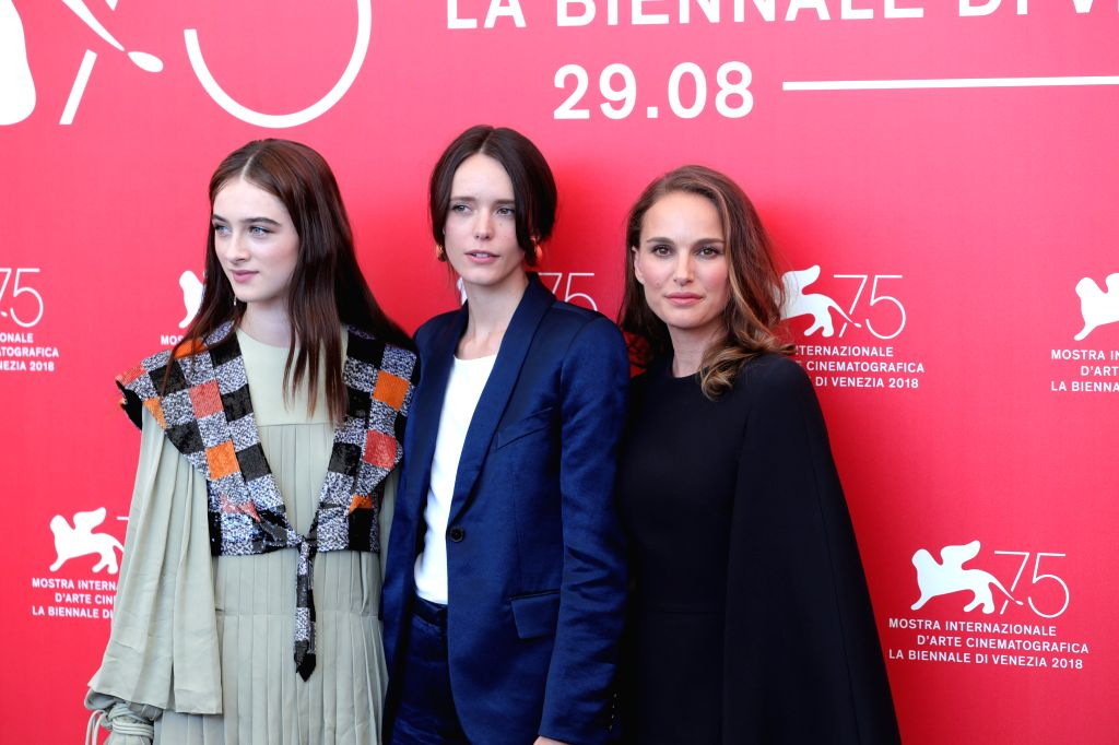 """VENICE, Sept. 4, 2018 - Actress Raffey Cassidy, Stacy Martin and Natalie Portman (L to R) attend """"Vox Lux"""" photocall during the 75th Venice International Film Festival in Venice, Italy, ... - Raffey Cassidy"""
