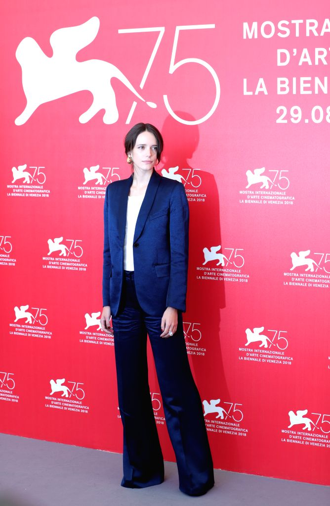 """VENICE, Sept. 4, 2018 - Actress  Stacy Martin attends """"Vox Lux"""" photocall during the 75th Venice International Film Festival in Venice, Italy, Sept. 4, 2018. - Stacy Martin"""