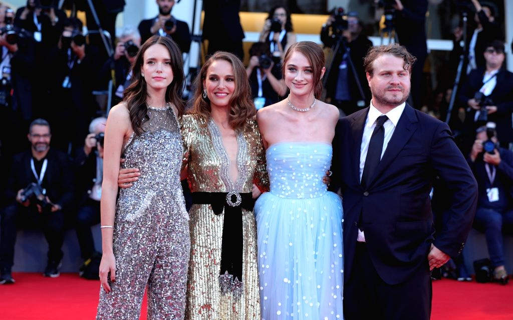 "VENICE, Sept. 4, 2018 - Actress Stacy Martin, Natalie Portman, Raffey Cassidy and director Brady Corbet (from L to R) attend the premiere of the film ""Vox Lux"" at the 75th Venice ... - Stacy Martin"