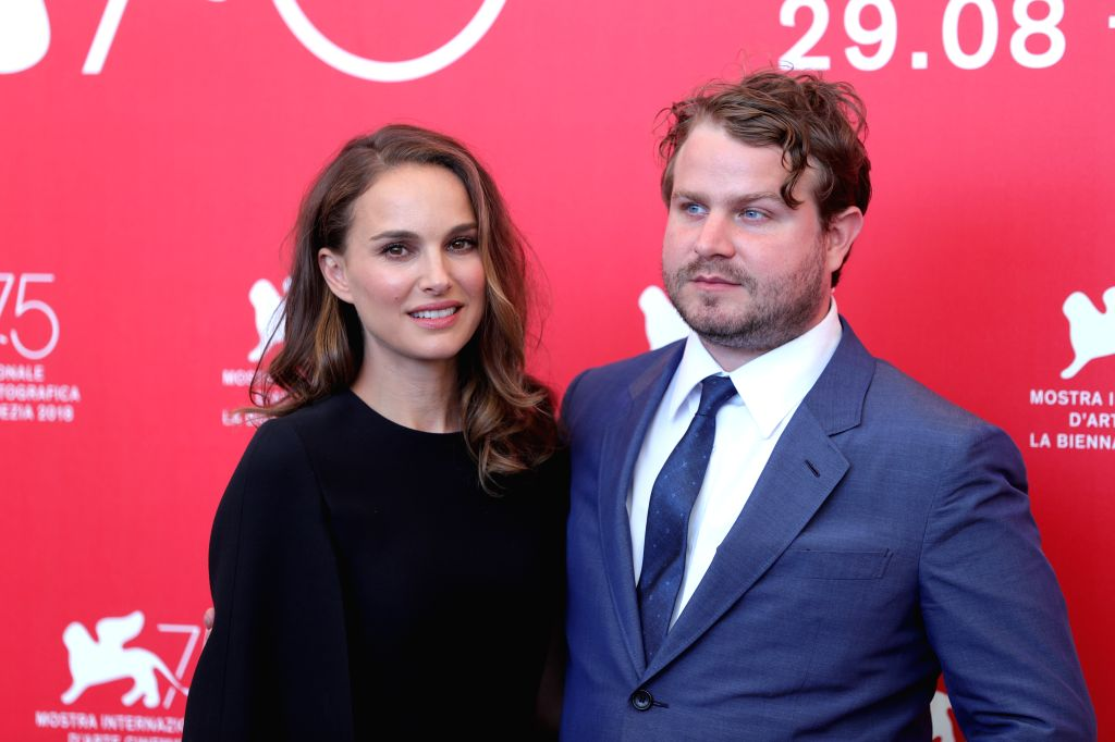"""VENICE, Sept. 4, 2018 - Director Brady Corbet(R) and actress Natalie Portman attend """"Vox Lux"""" photocall during the 75th Venice International Film Festival in Venice, Italy, Sept. 4, 2018. - Natalie Portman"""