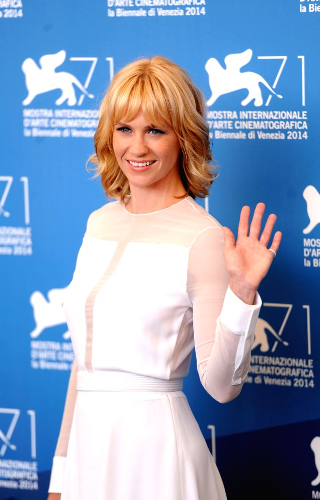 "Actress January Jones poses at the photocall for ""Good kill "" which is selected in the competition unit  during the 71st Venice Film Festival, in Lido of .. - January Jones"