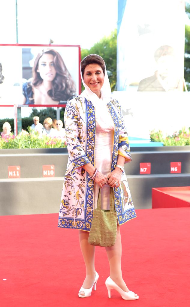 """Azerbaijani actress Fatemeh Motamed Arya poses on the red carpet for """"NABAT"""", which is selected in the Orizzonti unit, during the 71st Venice Film ... - Fatemeh Motamed Arya"""
