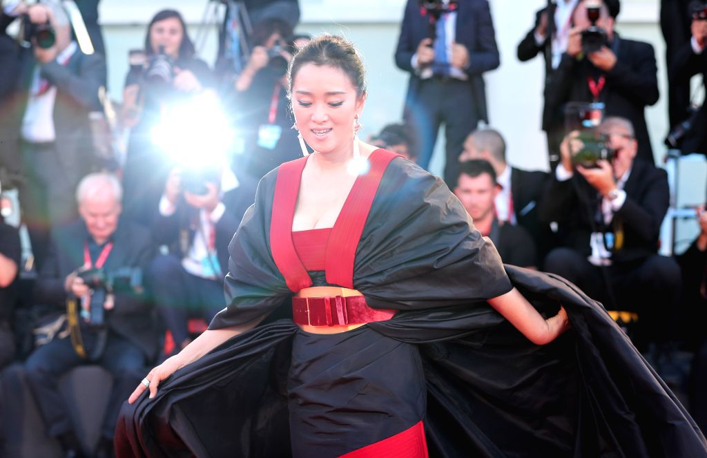 """VENICE, Sept. 5, 2019 - Chinese actress Gong Li poses on the red carpet for the premiere of the film """"Saturday Fiction"""" during the 76th Venice International Film Festival in Venice, Italy, ... - Gong L"""