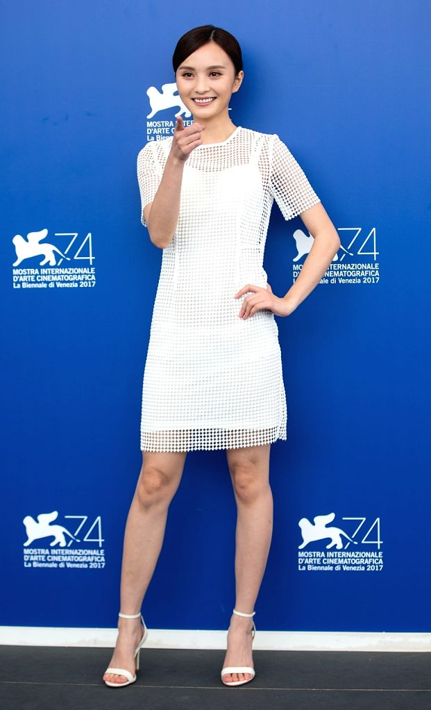 """VENICE, Sept. 7, 2017 - Actress Peng Jing poses during a photocall for the movie """"Angels wear white"""" at the 74th Venice Film Festival in Venice, Italy, Sept. 7, 2017. - Peng Jing"""